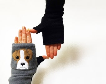 Your Boxer Dogwalking Gloves with Pockets. Personalized Gift for Dog Lovers