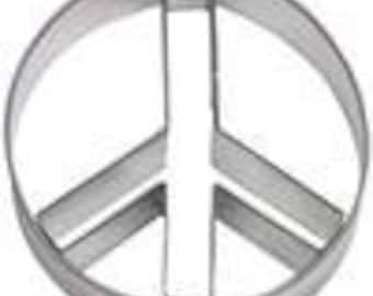 "Peace Sign Cookie Cutter 3.5"" 2 piece set circle and inner sign piece"