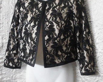Vintage Cropped Jacket Black Lace Swing Style Rockabilly Party Top Victorian Hollywood Glam SM