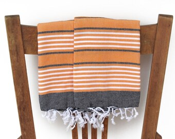 Tea Towels Set Kitchen Towel Handwoven Cotton Turkish Hand Towel Bathroom Guest Towel Face Towel Turkish Towel Black Orange PESHKIR SET