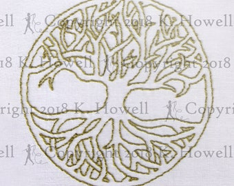 Tree of Life Hand Embroidery Pattern, Tree, Circle, Roots, Branches, Celtic, Knot, Celtic Knot, Easy, Beginner, Symbolism, PDF