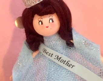 Best Mother doll ornament Mother's Day gift art doll vintage retro inspired baby blue and silver brunette pageant girl