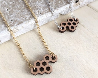 Fiver Friday, Honeycomb Necklace, Bee Necklace, Geomeric Necklace, Wooden Bee Necklace, Honeycomb Pendant, Bee Pendant, Bee Jewellery, Geome
