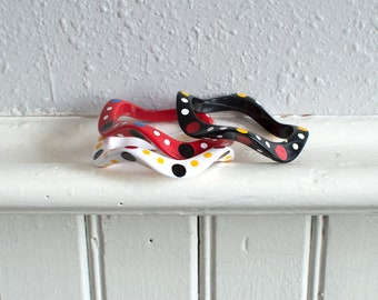 80s Wavy Clown Bangles / Primary Color Bracelets