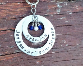 Grandma or mom key chain with her grandkids or kids names and bithstones.