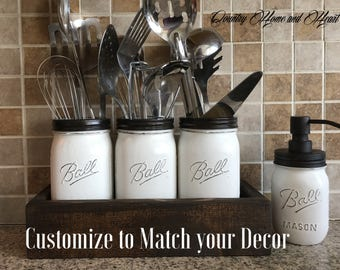 Kitchen Organization, Mason Jar Kitchen Utensils Holder,Utensils Holder, Mason Jar Kitchen Decor, Mason Jar Kitchen Set, Painted Mason Jars