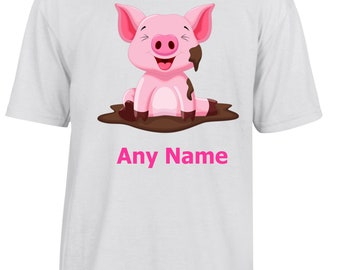 Personalised Cute Pig/Piglet T Shirt  *Choice of name colours*