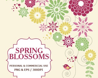 Digital Spring Flowers Blossoms Clip Art Spring, Bloom, Flowers, Birds, Colorful Clip Art