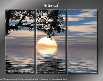 Framed Huge 3 Panel Serenity Tranquility Peace Eternal Giclee Canvas Print - Ready to Hang