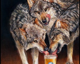 Three Wolf Moon Beer Wolves Fine Art Print