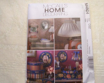 McCall's Home Decorating Pattern - M4804 - Home Accessories - Factory fold, Uncut Pattern