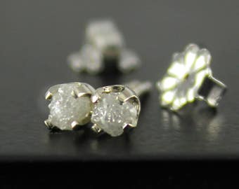 3.5mm White Rough Diamond Studs - 14K White Post Earrings - Natural Conflict Free Raw Diamonds - Ear Studs