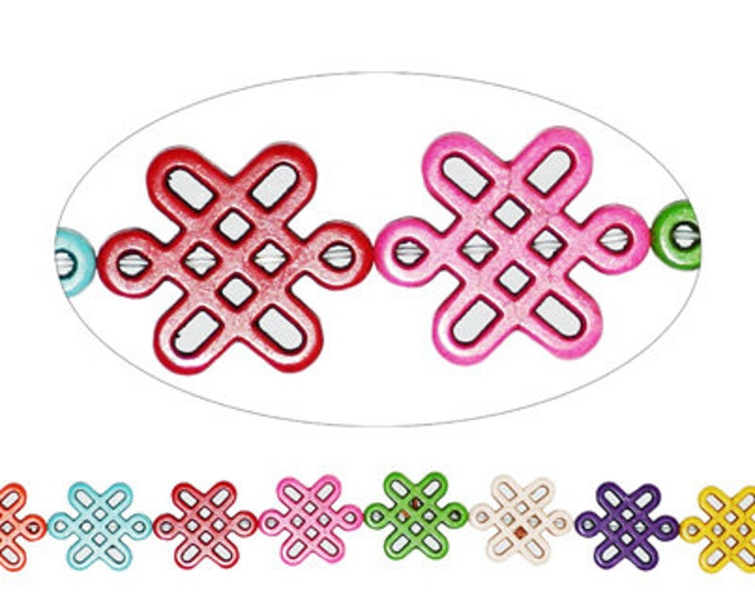 14 pcs a strands of 28x24mm Celtic Beads Multi-color Dyed Magnesite.