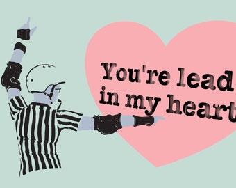 Roller Derby Valentine's Day Lead Jammer Card