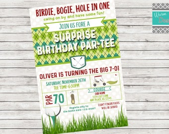Surprise Golf Birthday Party Invitation - Printable