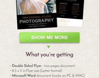Photography Flyer Design, Events Flyer Design, Letter Size Flyer Template, Double Sided Brochure, Word Flyer Template, Printable Flyer