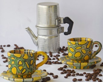 Pair of coffee mugs, Italian pottery mug, espresso cup, gift idea, pottery coffee mug, ceramic mugs, modern ceramics, coffee art