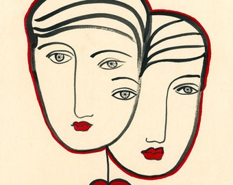 Two Hearts as One-Lovers, Love, Lover Print, Love Print, Heart Print, Two Faces,