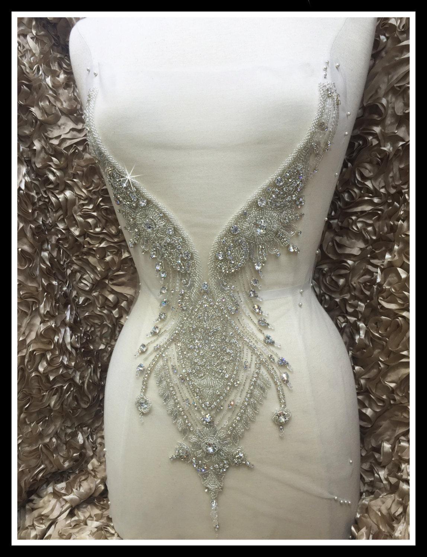 Designer full body rhinestone applique beaded wedding for How to ship a wedding dress usps