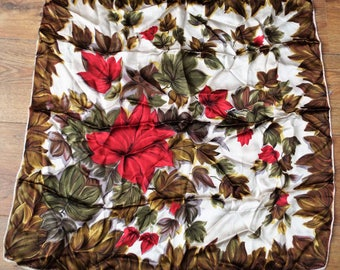 Vintage 1940/50's Large Head Square /Scarf in Vibrant colours and design Red Green stunning