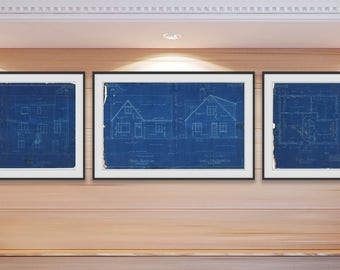 Blueprints etsy vintage retro architects house blueprints for cape cod style home collection of 4 prints instant digital download malvernweather Gallery