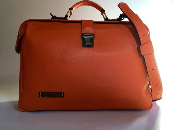 15 inches Woman Leather Briefcase, Woman Handbag, Woman Leather Bag, Orange Leather Bag, Handmade Leather briefcase, Mary Poppins Bag