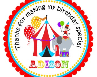 Carnival Party Stickers, Personalized Stickers, Circus Stickers, Carnival stickers or Gift Tags, Carnival Birthday Party  - set of 12