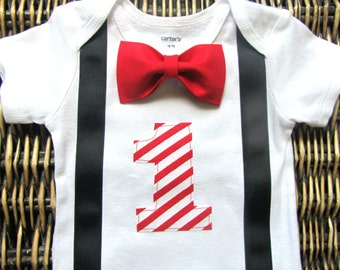 Boys First Birthday Outfit - Racecar 1st Birthday Outfit - Bow Tie Suspender - First Birthday Outfit Boy - Black Red 1st Birthday Boy Outfit