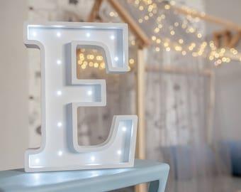Alphabet lights - Marquee letter E - Letter lights - Battery light - LED letter E- Marquee sign - Night light bulbs