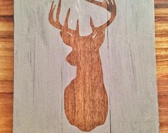 Deer Head Silhouette Wood sign hunters home decor