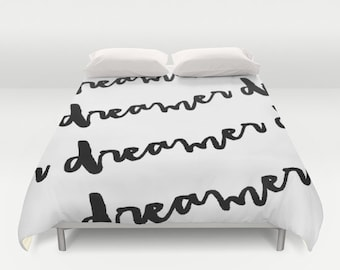 Dreamer Duvet Cover, King, Queen, Twin, Black and White Bedding, Modern Decor, Apartment Decor, Dorm Bedding, Teen Room Decor, Inspirational