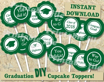 Graduation cupcake topper in green and white printable DIY instant download