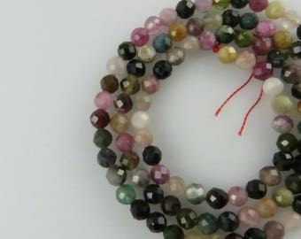 4mm Faceted Round Mixed Tourmaline Gemstone Beads - Full Strand, Natural