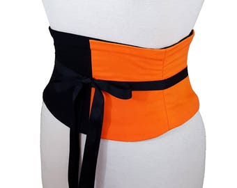 Orange and Black Corset Belt / Half and Half Waist Cincher / Costume Corset / Dance Costume / Halloween Costume / Obi Belt / Underbust Belt