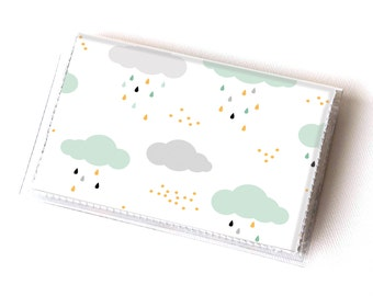 Vinyl Card Holder - Summer Rain2 / card case, snap, vinyl wallet, women's wallet, small wallet, raindrops, green, clouds, cute, kids, happy