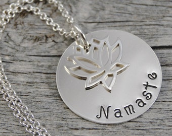 Ready to ship - Hand Stamped Jewelry - Lotus Flower - Namaste - Sterling Silver Necklace - Personalized Jewelry