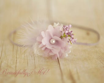 Rustic Newborn Plum Baby Headband Fits All in purples plum n lavenders Shabby Chic baby 1st photo shoots fits all *SHIPS FREE