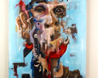 Original Surreal Portrait Oil Painting