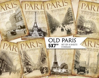 Old Paris Vintage Backgrounds Shabby chic paper Scrapbook Decoupage 5x7 inch (438) set of 4 sheets