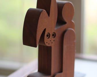 Vintage Wooden Rabbit Bookends