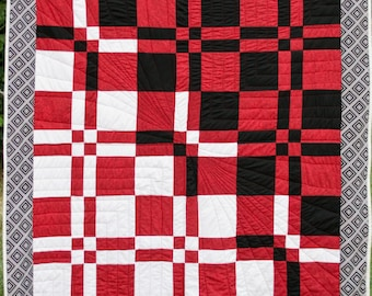 Throw Quilt - Red, White and Black Throw Blanket, Lap Quilt, Lap Blanket, Patchwork, Handmade