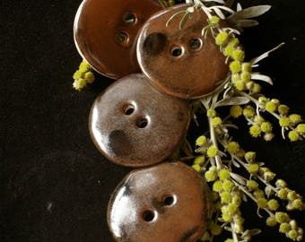 Set of 4 beautiful buttons have sew - chocolate color - round porcelain.