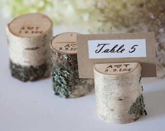 10 personalized rustic wedding table number holders form birch, place card holder, name tag holder, table number stand, rustic wedding decor