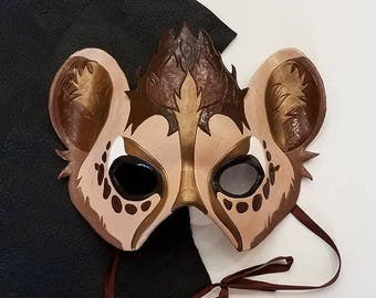 Leather Hyena Mask - Made to Order