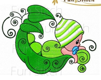 set of 10 peapod babies machine embroidery designs