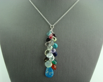 Multi Stone Genuine Kingman Mine Turquoise Sterling Silver Necklace