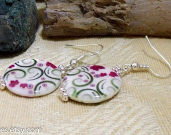 Floral Mother Of Pearl Shell Silver Dangle Earrings