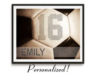 GET 15% OFF TODAY! Personalized soccer art, Girls soccer gifts, Sports gift, Team gifts, Teen birthday, Sports art, Kids room decor / Soccer