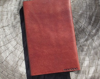 Custom Handmade Leather Moleskine Journal Cover, for 3.5 x 5.5 inch Pocket Size, Mahaogany, Hand Stitched Cover
