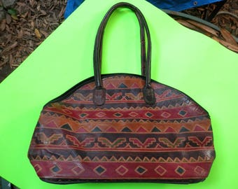 Reduced! Vintage MEDITERRANEAN TRADING CO. Hand Painted Tote